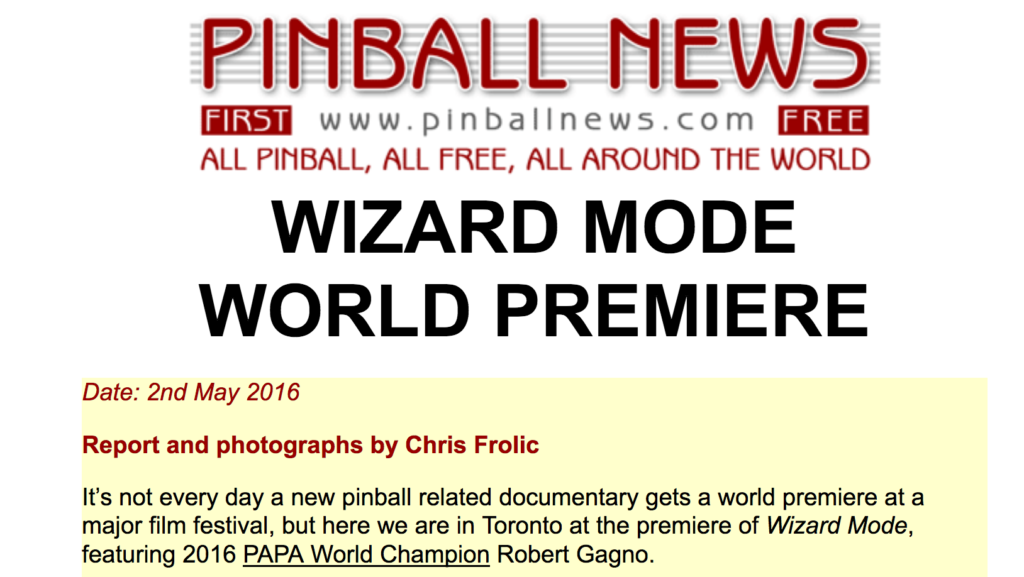 Pinball News article